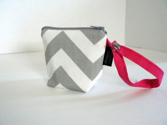 BagEnvy Handbags' Pacifier Pouch - In Grey Chevron and Hot Pink - Or Custom Made To Match your Diaper Bag