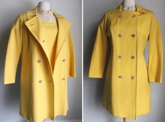 RESERVED for Trini Varela Vintage 60's Matching Yellow Jacket and Dress Outfit, Mad Men, Sportswear, Office