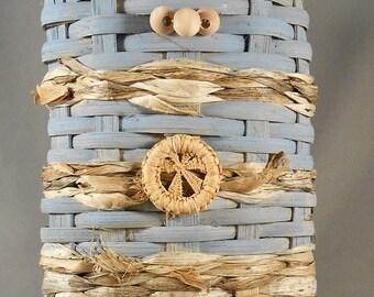 Small Woven Wall Basket Light Blue Natural Handwoven OOAK