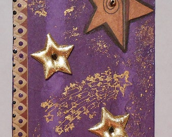 ACEO Handmade Original Collage Purple and Gold Stars