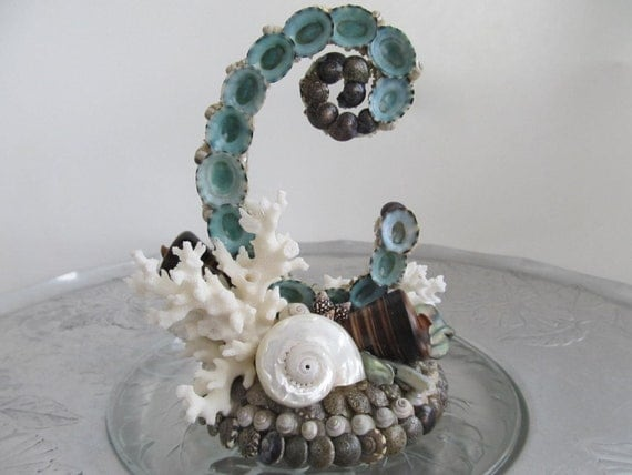 Beach Wedding ELEGANT INITIAL Turquoise Limpet Shelled Cake Topper