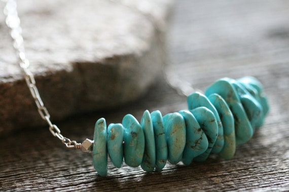 Chunky Turquoise Necklace with box sterling chain