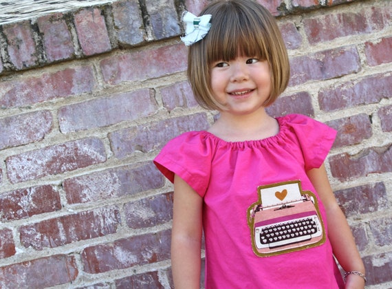 The TYPEWRITER Dress - handmade organic cotton peasant dress in Bright Pink from size 3T-5T