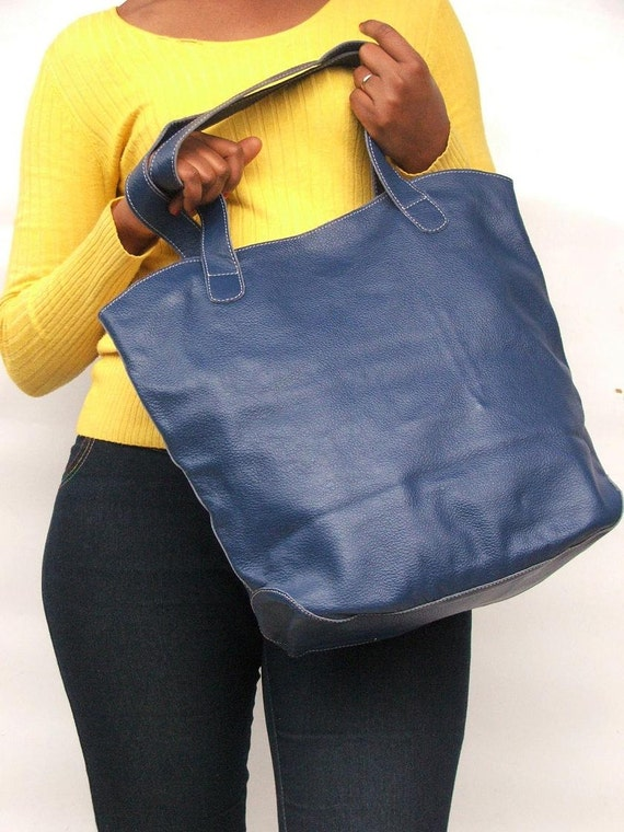 Leather tote bag sky blue bag market bag library bag every day leather bag