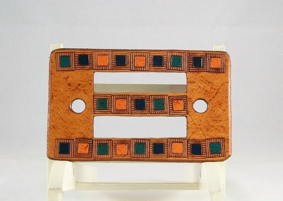 Leather barrette with blocks of orange - turquoise - blue