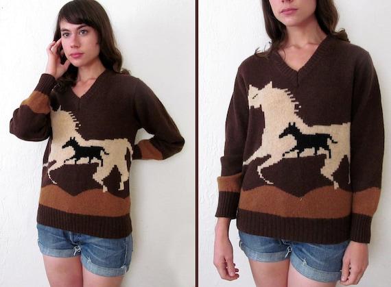 Reserved for Suzette: WILD HORSES V-neck Sweater s M l