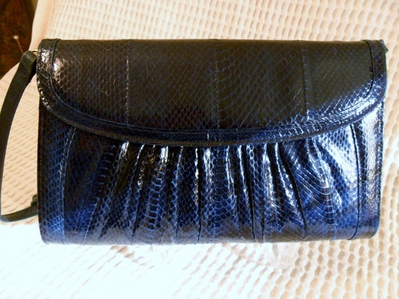 J Reene Navy Blue Snake Skin Bag purse Detachable String Shoulder Strap.