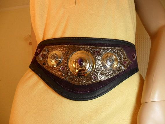 RESERVED signed Designer WIDE Black and Purple Leather Belt Embellished Metal Beads Cabochon Adjustable