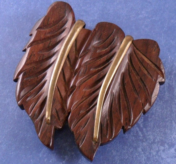 S vintage two leaf hand carved maple wood by