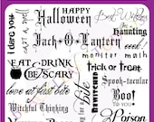 Halloween Word Art -Scrapbooking Titles, October 31st Titles, Scary Greetings - Personal & Commercial