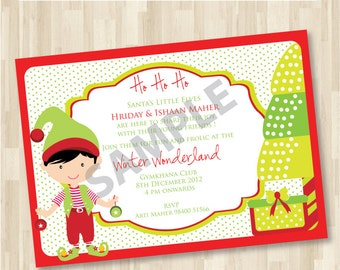 Christmas Customised Invitation DIY Printable for Baby Shower or Birthday Christmas Party