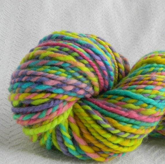 Neon Crayons Handspun Wool Yarn Bulky Weight Two Ply 2 Ply 103 yards