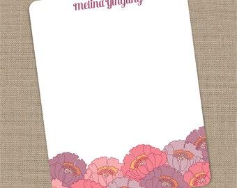 Personalized Poppy Flat Notecards