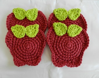 Crochet Apple Coasters/Set of Four/Fall Apple Coasters