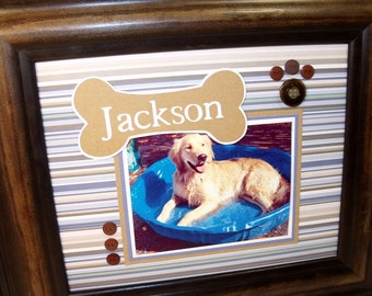 Personalized Dog Keepsake UNFRAMED Photo Mat fits in 8x10 Frame houses vertical or horizontal 4x6 photo other colors available