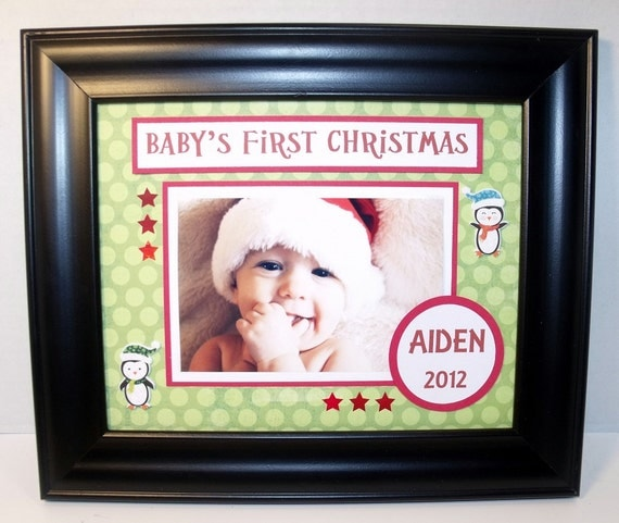 Baby S First Christmas Picture Frame Personalized 8x10