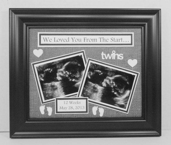 Twins Ultrasound Photo Mat Personalized By Memoreasykeepsakes