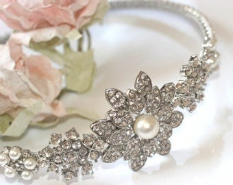 Bridal Side tiara - 'Florence' - Diamante and pearl wedding side tiara, Rhinestone and pearl headpiece