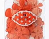 Prima Flowers Floral Embellishments - Prima Marketing Sprites Apricot 517151 Paper Flowers Orange Melon Peach Coral White Dots
