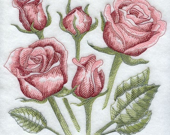 SKETCHED ROSES- Machine Embroidered Quilt Blocks (AzEB)