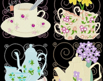 ITS TEA TIME Blocks- 12 Machine Embroidery Designs Instant Download 5X5 hoop (AzEB)