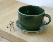 One supersized cappuccino cup in forest green - hand thrown stoneware pottery
