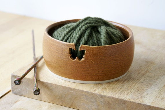 Pottery yarn bowl with butterfly hook for your wool - glazed in natural brown
