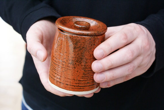 Teeny cafe style pouring jug for milk - hand thrown in stoneware and glazed in red jasper