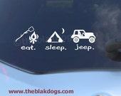 Eat Sleep Jeep, jeep sticker, Vinyl sticker, Car Decal, eat sleep sticker