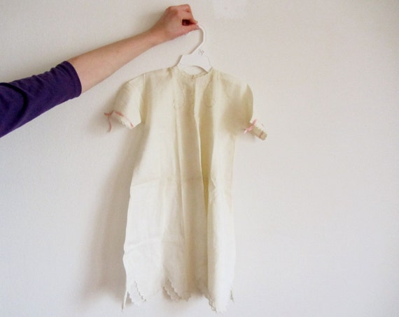 antique christening baby gown . scalloped embroidery . pink ribbon .3-6 months .sale