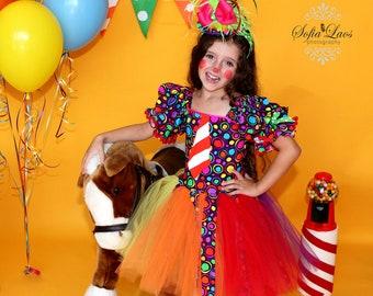 Clown Costume 7 custom boutique Halloween costume purple rainbow tutu clown dress