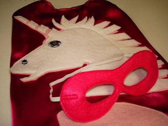 Children's Custom Superhero Personalized UNICORN Fantasy Fairy Princess Kids Cape Including Matching Mask