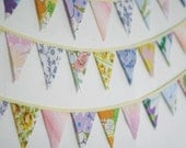 Small Triangle Bunting Banner, Nursery Bunting, Vintage Yellow, Party Decorations, Knotted Nest on Etsy