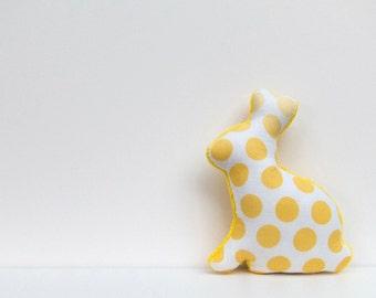 Plush Easter Bunny Polka Dot Stuffed Animal Minky Bunny Baby Toy Yellow White