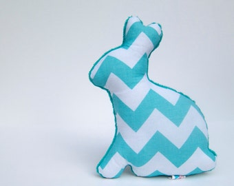 Chevron Plush Easter Bunny Stuffed Minky Animal Baby Toy Aqua Teal White