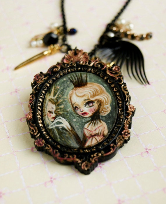 Mirror mirror on the wall ..... original cameo necklace. Snow White Fairytale art illustration by KarolinFelix
