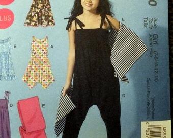 McCalls 6550 Girls Plus Dresses, jumpsuit and wrap (7-8-10-12-14)