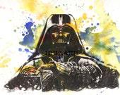 Star Wars Print Art Movie Poster Darth Vader Art Print From Original Watercolor Painting Art print Star Wars Poster Print Pop Art
