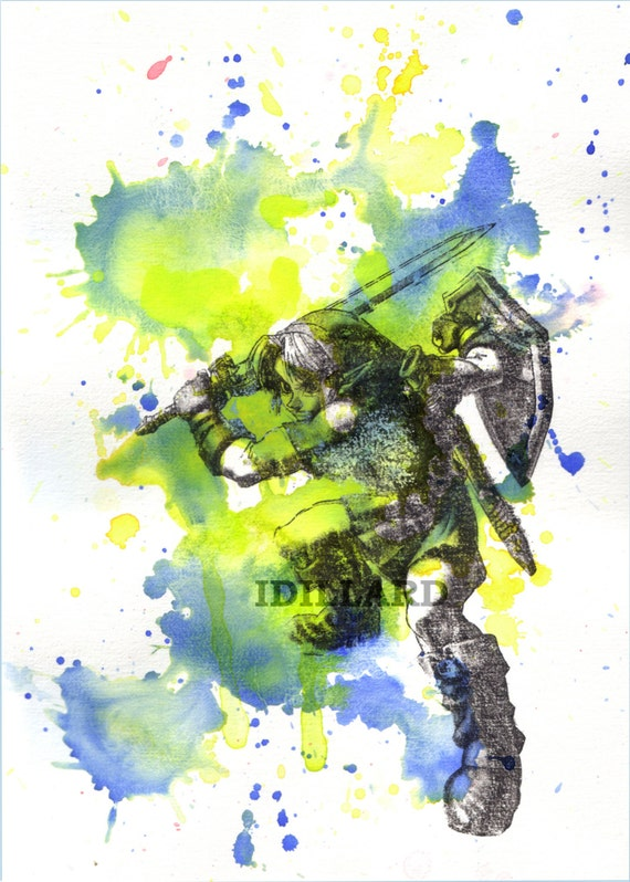 Link from Zelda Watercolor Painting - 8 X 10 in. print