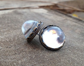 Post Earrings-Vintage Mirror Back Clear Cabochon -Silver Tone Setting
