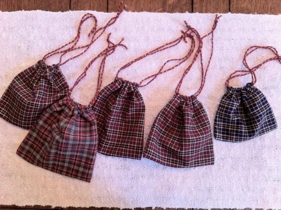 Drawstring Bags of Plaid Cotton, Set of 5