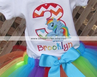 My Little Pony - Rainbow Dash - Tutu Set.  Includes Boutique Tutu and Embroidered Top