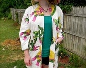 FabulousVintage 30s 40s Novelty Sombrero and Cactus Print Jacket M L XL -on sale-