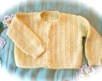 Vintage 50s Girls sweater - Todder Yellow Knit Cardigan - on sale