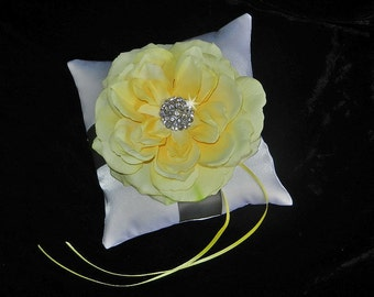 Silver Yellow and White or Ivory Ring Bearer Pillow OR Basket