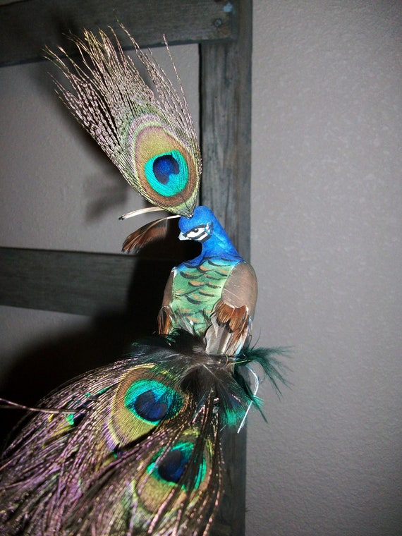 Natural Peacock Bird Feather Wedding Cake Topper Centerpiece