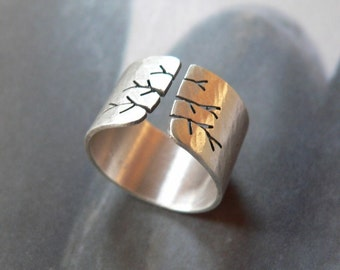 Autumn tree ring, rustic Sterling silver ring, wide band ring, metalwork jewelry, gift for wife, gift for her, unique gift, Christmas