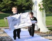 Wedding Here Comes the Bride Banner Fabric Ceremony Banner Ringbearer Flower Girl