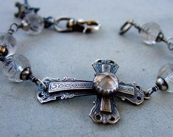 Clear Quartz Cross Bracelet