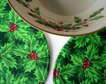 Green Holly Christmas Placemats Oval Reversible Holly Placemats for Christmas Red Berries and Holly Red and Green Placemats